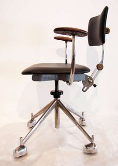 Anonymous; Chromed and Enameled Metal and Wood Desk Chair, 1950s.