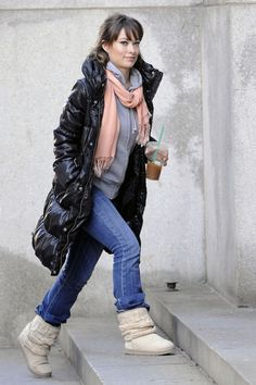 Love her face. And her boots. And her jeans. Basically everthing but that puffy jacket.