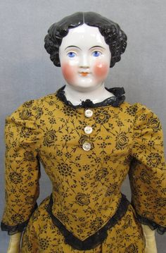 "Civil War China Head Doll 20"" Tall Unusual Large Eyes from joysdolls on Ruby Lane"