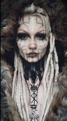 If you could be anything, be Viking. Viking Aesthetic, Aesthetic Women, Witch Aesthetic, Goth Beauty, Dark Beauty, Krieger Make-up, Vikings, Red Dreads, Witchcraft Spell Books