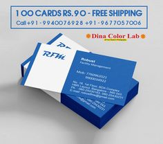 Visiting Card Printing, Business Cards Online, Facility Management, Color Photography, Smooth, Free Shipping