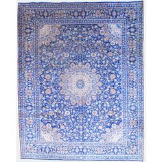 Persian Hand-knotted Mashad Navy/ Ivory Wool Rug (10 x 12'9) | Overstock.com