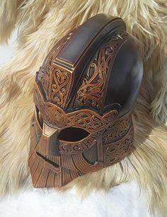 Dwarf helmet LARP Fantasy LOTR Armor Larp Armor, Us Armor, Body Armor, Leather Armor, Leather Mask, Fantasy Armor, Fantasy Weapons, Armadura Medieval, Cool Masks