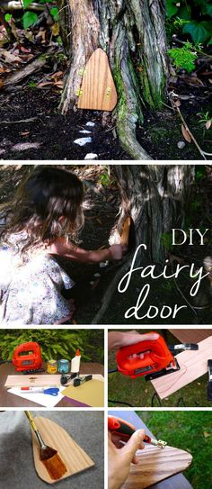 Such a magical idea! Make and install a little fairy door in a tree nook and watch the kids imagination open up. Easy to DIY, too. Fairy Village, Fairy Tree, Fairy Doors On Trees, My Fairy Garden, Gnome Garden, Diy Fairy Door, Fairy Garden Furniture, Deco Nature, Unique Trees