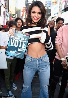 Getting involved: Kendall Jenner was more than happy to take part when TRL returned on Tuesday in the form of Total Registration Live, to encourage young people to vote
