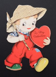 Vintage UNUSED LARGE Valentines Card Girl with Real Straw Hat