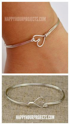 DIY Wire Heart Bracelet Tutorial from Happy Hour Projects. If...