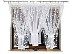 Hotová kusová záclona trojdílná Větvičky bílé 400x150 cm. Ideální na šíře okna 150 cm až 300 cm