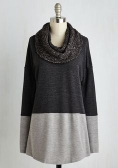 Combined to Unwind Sweater - Mid-length, Knit, Black, Grey, Print, Knitted, Colorblocking, Long Sleeve, Fall, Winter, Best, Cowl