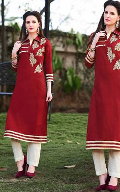 Ravishing Red Cotton Kurti @ http://www.indiandesignershop.com/product/ravishing-red-cotton-kurti/