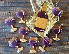 12 Custom Label Wine and Glass Cookies Wine Cookies Wine Wine Cookies, Fancy Cookies, Cut Out Cookies, Royal Icing Cookies, Heart Cookies, Cupcakes, Cupcake Cookies, Sugar Cookies, Cookies Et Biscuits