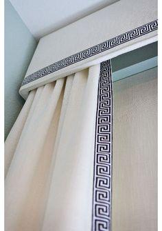 Cornice board and drapery panels