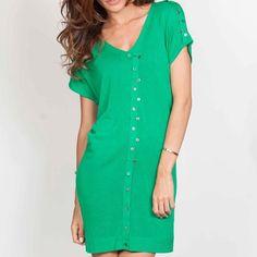 Green Buttoned Dress