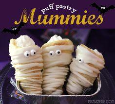 {Halloween Recipe} Puff Pastry Mummies! on http://pizzazzerie.com