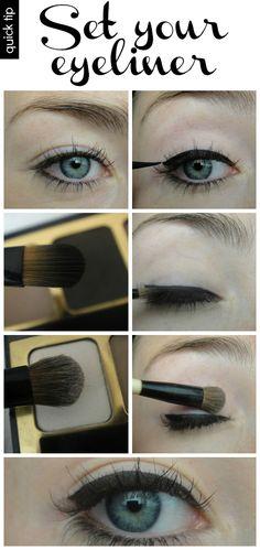 no-smudge eyeliner trick! http://ootbc.blogspot.com/2012/09/its-setup.html