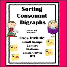 Consonant Digraphs: Phonics Sorting Activity Great for teaching reading skills, literacy centers, and intervention. Education And Literacy, Early Literacy, Literacy Centers, Teaching Resources, Teaching Ideas, Reading Strategies, Reading Skills, Teaching Reading, Learning