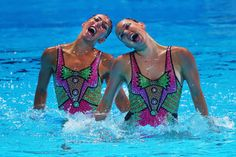Laura Auge and Margaux Chretien of France compete in the Synchronized Swimming Duet preliminary round on day four of the 15th FINA World Championships at Palau Sant Jordi on July 23, 2013 in Barcelona, Spain.