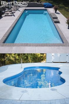 Explore fiberglass swimming pool shapes and sizes with our catalog at riverpoolsandspas.com! #fiberglasspools #ingroundpools #poolshapes