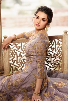 Mauve And Pink Anarkali Lehenga Suit is indian outfit specifically designed to make you look perfect on any indian wedding as bride and bridesmaids. This suit features resham kari thread and zari e. Anarkali Tops, Silk Anarkali Suits, Anarkali Lehenga, Lehenga Suit, Lehenga Style, Party Wear Lehenga, Churidar Suits, Silk Lehenga, Salwar Kameez