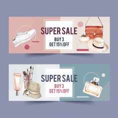 Fashion banner with cosmetics, outfit, accessories Banner Design Inspiration, Best Banner Design, Shop Banner Design, Banner Site, Sale Banner, Promotional Banners, Promotional Design, Free Banner Templates, Psd Templates