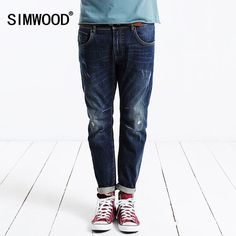 b737aafa4ea1 SIMWOOD 2017 new autumn winter jeans men causal fashion denim pants trousers  cotton Brand Clothing High