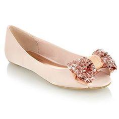 light pink sequin bow peep toe flats