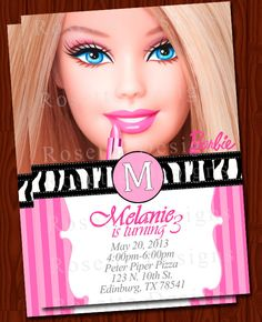 BARBIE invitation - elegant - NEW - digital printable - DIY - zebra print - pink… Barbie Birthday Party, Barbie Party, 6th Birthday Parties, Third Birthday, Barbie Invitations, Elegant Invitations, Birthday Invitations, Barbie Theme, Barbie Cake