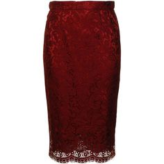DOLCE & GABBANA Lace Pencil Skirt (6,600 MXN) ❤ liked on Polyvore featuring skirts, bottoms, юбки, red, knee length pencil skirt, red knee length pencil skirt, knee length lace skirt, lacy skirt and red skirt