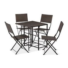 No matter how small your deck or patio, you can easily seat 4 for drinks or dinner with the 5pc Small Space Wicker Patio Dining Set. The chairs fold up and can be stored in the table legs. The table top can fold down so the entire set can be stored in a very small space. Take the chairs out to use them whenever you need them. So convenient. So comfy. So compact.