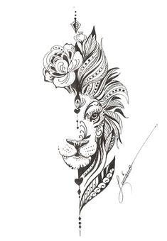 Nature Tattoos, Body Art Tattoos, Sleeve Tattoos, Tattoos 3d, Small Tattoos, Flower Tattoos, Lion Tattoo With Flowers, Temporary Tattoos, Tatoos