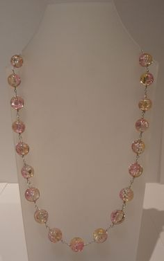 Necklace made with two-tone beads.