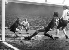 Arsenal 'keeper Bob Wilson fails to stop John Toschack scoring in a 2-0 win for the Reds at Anfield in 1971