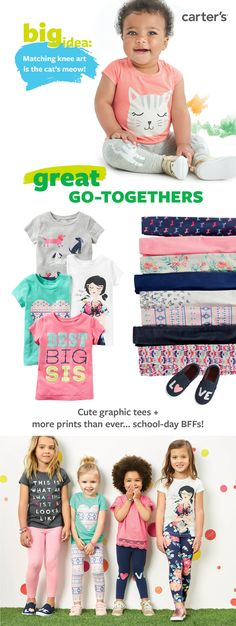 Girls tees and leggings are the perfect match this season! Characters, floral prints and cute sayings for summer and beyond. Shop them all.