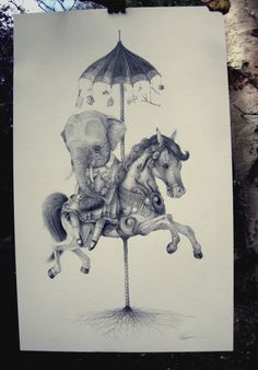 Mark James Porter - elephant riding pony