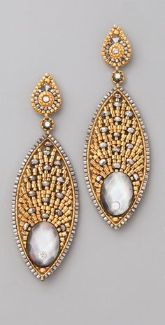 Miguel Ases Mother of Pearl Pyrite Crystal Earrings/i like to make the upper half and use them in other earrings.