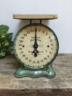 Vintage Green Kitchen Scale American Family Scale Antique Primitive Farmhouse…