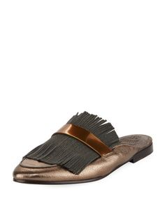 Metallic+Leather+Monili+Mule+Loafer,+Pewter+by+Brunello+Cucinelli+at+Neiman+Marcus.