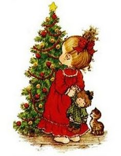 Sarah Key, Holly Hobbie, Christmas Scenes, Christmas Pictures, Christmas Art, Illustration Noel, Christmas Illustration, Christmas Decoupage, Vintage Christmas Cards