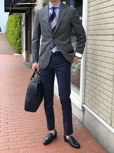 How To Wear a Grey Blazer With Navy Pants For Men looks & outfits) Business Casual Outfits, Business Fashion, Mens Fashion Suits, Fashion Outfits, Men's Fashion, Blazer Fashion, Blazer Outfits Men, Grey Blazer Outfit, Navy Outfits