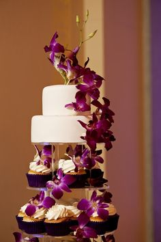 Purple Orchids - cake and cupcakes