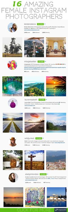 We want to introduce you to our favourite women Instagram travel photographers. As a woman, I love celebrating talent and success in the field of photography. The ladies are leading the pack when it comes to Instagram and here are our favourite Travel Instagram Photographers celebrating Girl Power. >> http://theplanetd.com/instagram-travel-photography/