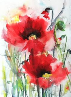 "Saatchi Online Artist: Karin Johannesson; Watercolor 2013 Painting ""Dreamy Poppies III"""