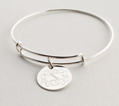 Sterling Silver Adjustable Charm Bangle Bracelet - Designer Style with Monogram Pendant door netexchange op Etsy https://www.etsy.com/nl/listing/207546706/sterling-silver-adjustable-charm-bangle