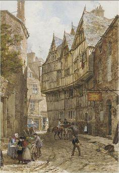 Street scene in Tewkesbury, by Victorian painter Louise RaynerTewkesbury Louise Rayner Fantasy Town, Medieval Fantasy, Medieval Houses, Medieval Town, London Drawing, Old Street, Old London, London Street, Fantasy Landscape