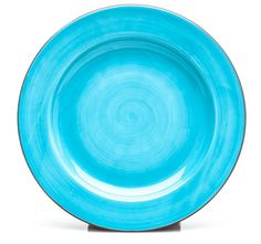 "DV Clay: Aqua Dinner Plate Set of 4 $64.00    This hand painted Caribbean Blue dinner plate with crisp terracotta edge is a stunning coordinate to the ""Savory Stripe"" collection. Remember that perfect Sunday brunch on the porch overlooking the water? This turquoise is inspired by those sun drenched days of summer."