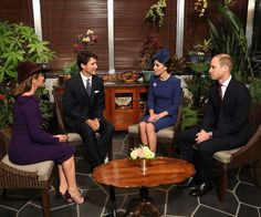 Sophie Gregoire, Canadian Prime Minister Justin Trudeau, Duchess Catherine and Prince William at Government House.
