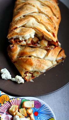 A comforting vegetarian pastry recipe, this plait looks impressive but is full of warming flavours.