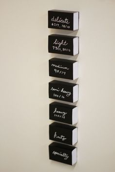 How to organize needles with slide boxes and a little chalkboard contact paper. Via the Coletterie.