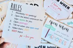 Open When Letters Rules, Inside Open When Letters, Open When Letters For Boyfriend, Creative Gifts For Boyfriend, Cute Boyfriend Gifts, Cards For Boyfriend, Gifts For Husband, Present Boyfriend, Bff Birthday Gift