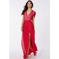 Ralona Red Lace Maxi Dress With Double Split - Dresses - Maxi Dresses - Missguided